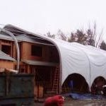 construction tent over house