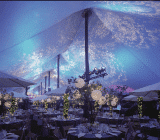 rental tent with dramatic lighting
