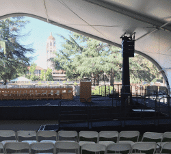 rental tent with stage ramp