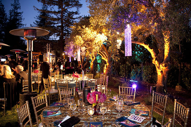 outdoor evening party with ambient mood lighting