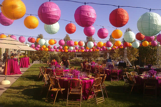 outdoor party with colorful hanging decorations