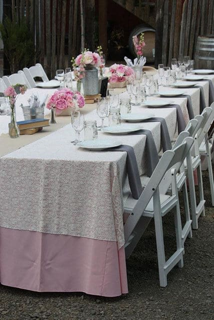outdoor table setting with pastel colors