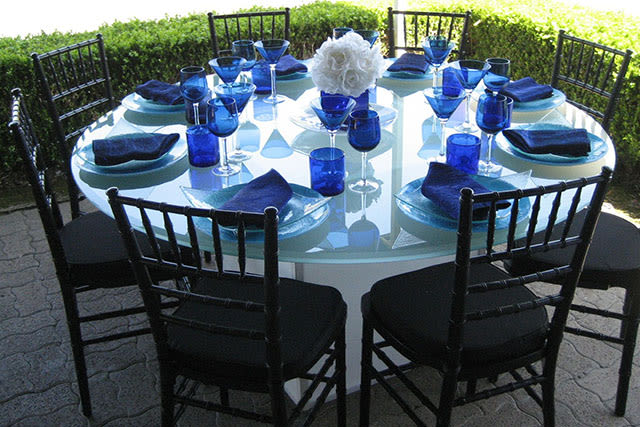 formal outdoor table setting with black and white