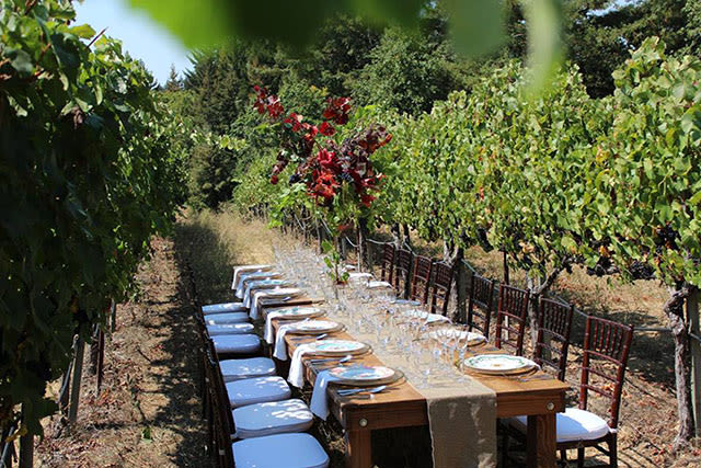 outdoor wedding reception at California vineyard